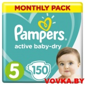 Подгузники Pampers Active Baby-Dry Junior 5 (11-16 кг) 150шт, Россия