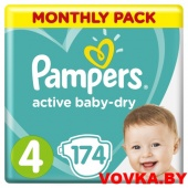 Подгузники Pampers Active Baby-Dry Maxi 4 (9-14 кг) 174шт, Россия