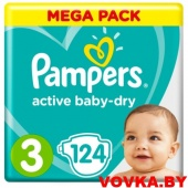 Подгузники Pampers Active Baby-Dry (Midi) 3 (6-10 кг) 124шт., Россия