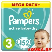 Подгузники Pampers Active Baby-Dry Midi 3 (6-10 кг) 152шт, Россия