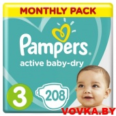 Подгузники Pampers Active Baby-Dry Midi 3 (6-10 кг) 208шт, Россия
