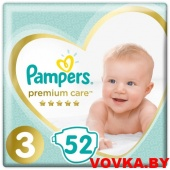 Подгузники Pampers Premium Care 3 Midi (6-10 кг) 52 шт, Россия, арт. 8001090606846
