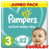 Подгузники Pampers Active Baby-Dry Midi 3 (6-10 кг) 82шт, Россия
